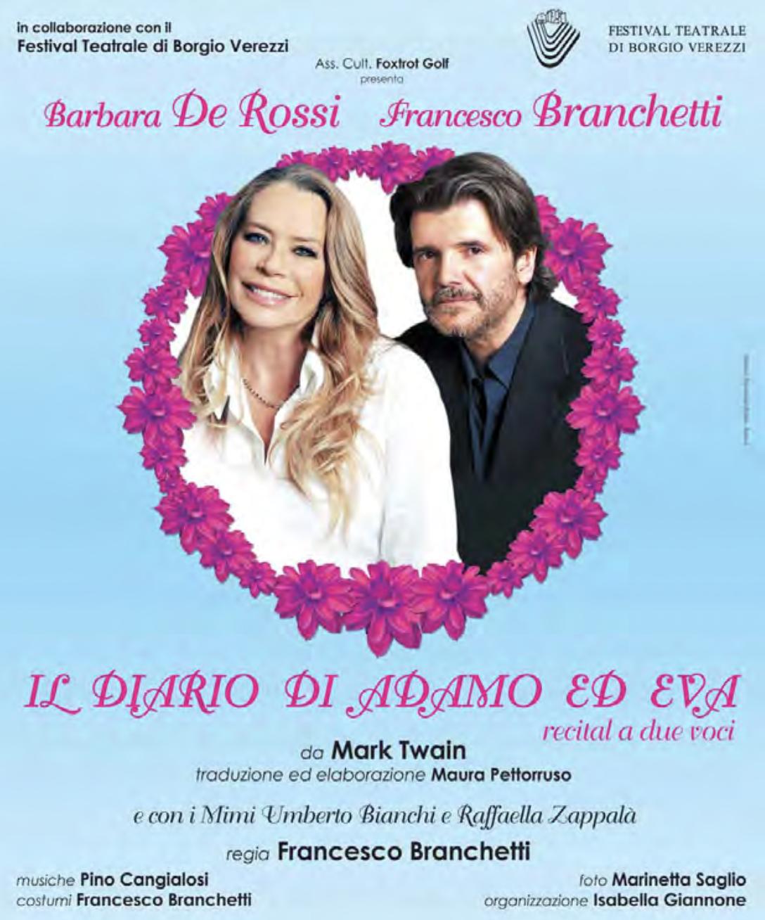 GIOVEDÌ 30 LUGLIO: BARBARA DE ROSSI, FRANCESCO BRANCHETTI – IL DIARIO DI ADAMO ED EVA